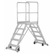 Podestleiter HYMER ® mit Geländer + Rollen. Beidseitig besteigbar