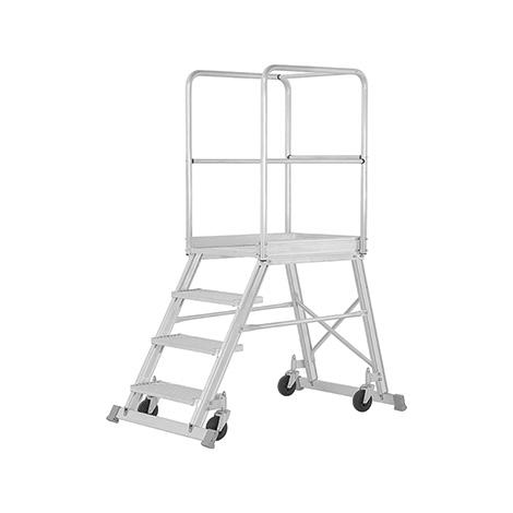 Podestleiter HYMER ® mit Geländer + Rollen. Einseitig besteigbar