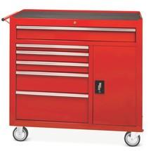 Pojazdný dielenský vozík Steinbock®, jednoduché dvierka + 6 zásuviek