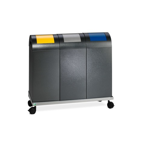 Pojemnik na surowce wtórne VAR®, 60 litrów, samogaszący, z ocynkowanej i powlekanej proszkowo stali, pokrywa zaokrąglona
