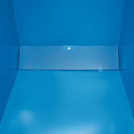 Pojemnik uchylny na wióry, możliwość opróżniania na wysokości podłogi, lakierowany, pojemność 0,4 m³, zkieszeniami wjazdowymi