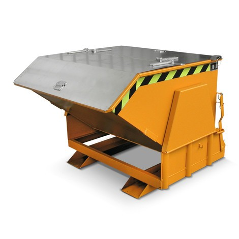 Pojemnik uchylny zmechanizmem rolkowym Premium, szeroka konstrukcja, lakierowany, zpokrywą, pojemność 0,3 m³