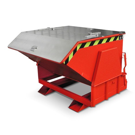 Pojemnik uchylny zmechanizmem rolkowym Premium, szeroka konstrukcja, lakierowany, zpokrywą, pojemność 1,2 m³