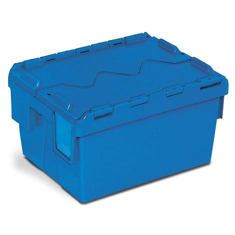 Pojemnik wielokrotnego użytku zpolipropylenu, składowany piętrowo, zkieszenią na etykietę