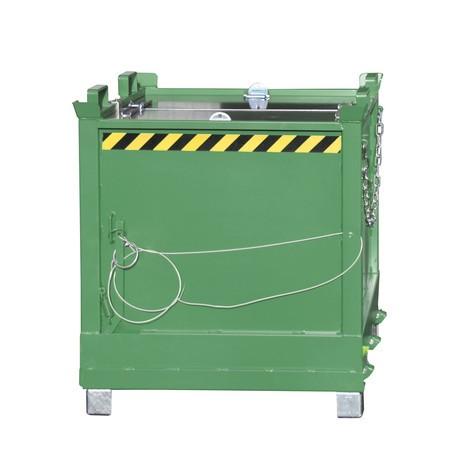 Pojemnik zotwieranym dnem, ustawiany 3-piętrowo, lakierowany, pojemność 2 m³