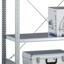Półka do regałów półkowych META zsystemem śrubowym, obciążenie półki 100 kg, jasnoszara