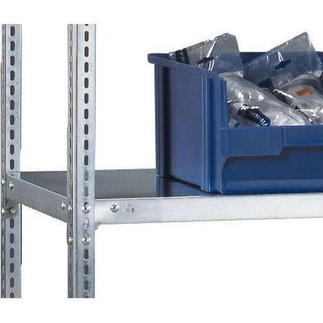 Półka do regałów półkowych META zsystemem śrubowym, obciążenie półki 80 kg, jasnoszara