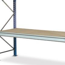 Półka do regału odużej rozpiętości zpółkami zpłyt wiórowych, oobciążeniu półki do 880 kg