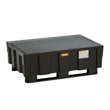 Polyethyleen lekbak voor 2x200 litervaten, met onderbouw met sleden voor gebruik in palletstelling