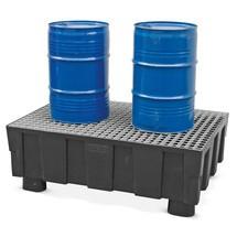 Polyethyleen lekbak voor 2x200 litervaten, met poten voor palletwagens