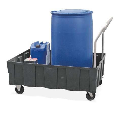 Polyethyleen lekbak voor 2x200 litervaten, met wielen en duwbeugel