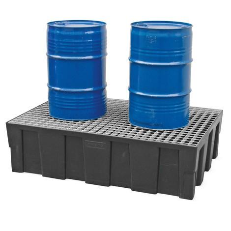 Polyethyleen lekbak voor 2x200 litervaten, om direct op de bodem te plaatsen
