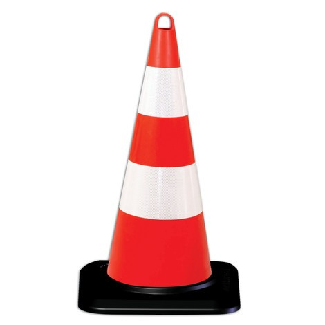 Polypropylene traffic cone, rigid, retroreflective