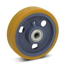 Polyurethaan wielen zw last Premium. Wielbody uit één stuk. Cap. 450-1100kg