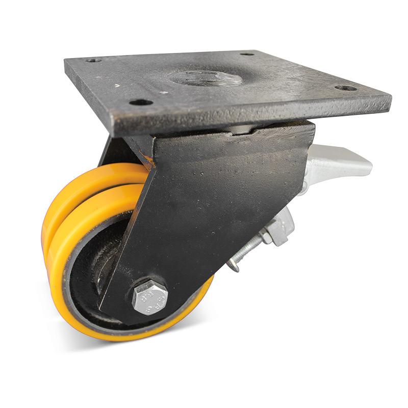 Polyurethan-Doppel-Schwerlast-Lenkrollen mit Feststeller. Tragkraft 500 - 4000kg
