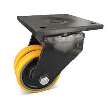 Polyurethan-Doppel-Schwerlast-Lenkrollen. Tragkraft 500 - 4000 kg
