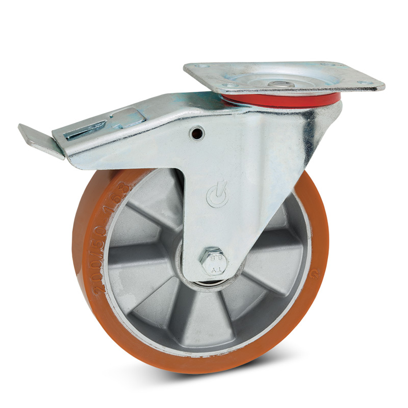 Polyurethan-Lenkrollen mit Feststeller. Alufelge. Tragkraft 180 - 400 kg