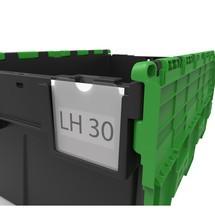 Porta etichette per contenitori impilabili riutilizzabili con coperchio incernierato