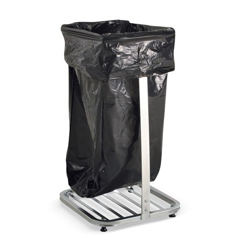Porta-sacchetto dei rifiuti BASIC, 4 rulli orientabili + 4 piedini, aperto
