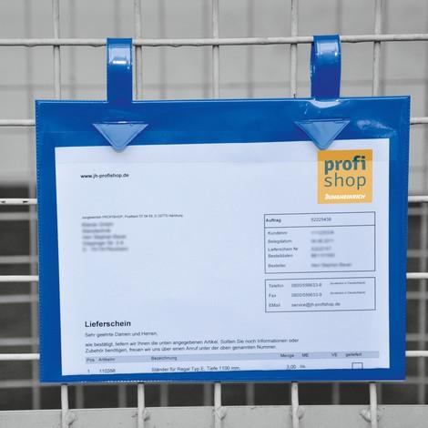 Porte-document pour caisses grillagées, avec languettes