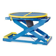 Posizionatore di pallet a pantografo ad aria compressa con piattaforma girevole