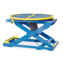 Posizionatore pallet a forbice ad aria compressa con piattaforma rotante