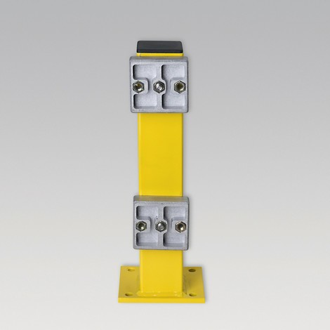 Post for C-profile barrier boards, outdoor use