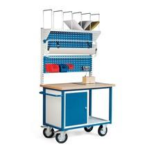 Poste d'emballage, mobile, 1 armoire, 2 panneaux perforés, balance intégrée