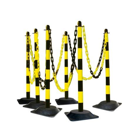Poste para cadenas, juego, base de goma dura (cuadrada)