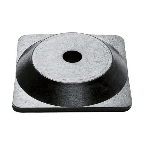 Potelet à chaîne simple, pied en caoutchouc rigide (carré)