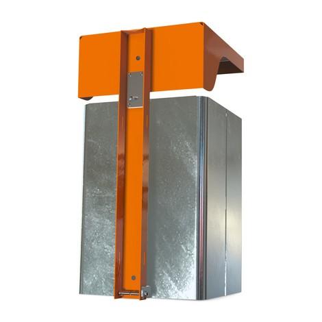 Poubelle avec couvercle de protection et cendrier, tôle d'acier