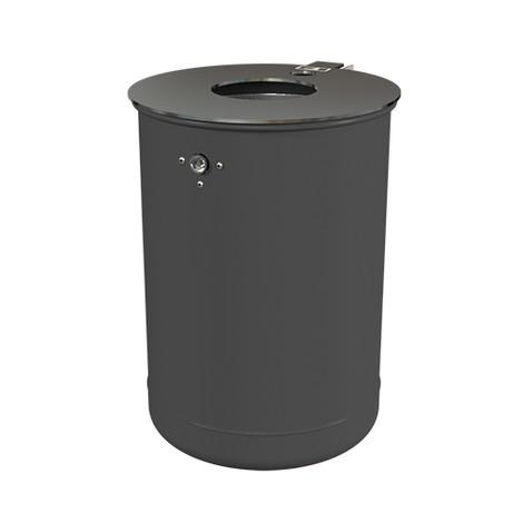 Poubelle en acier, 50 litres, avec cendrier