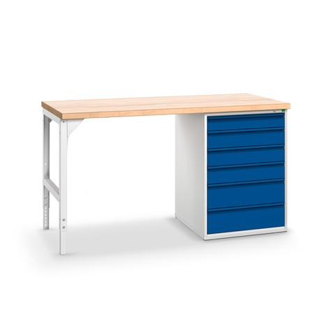 Pracovní stůl bott verso se zásuvkový box kovým blokem s centrálním zamykáním