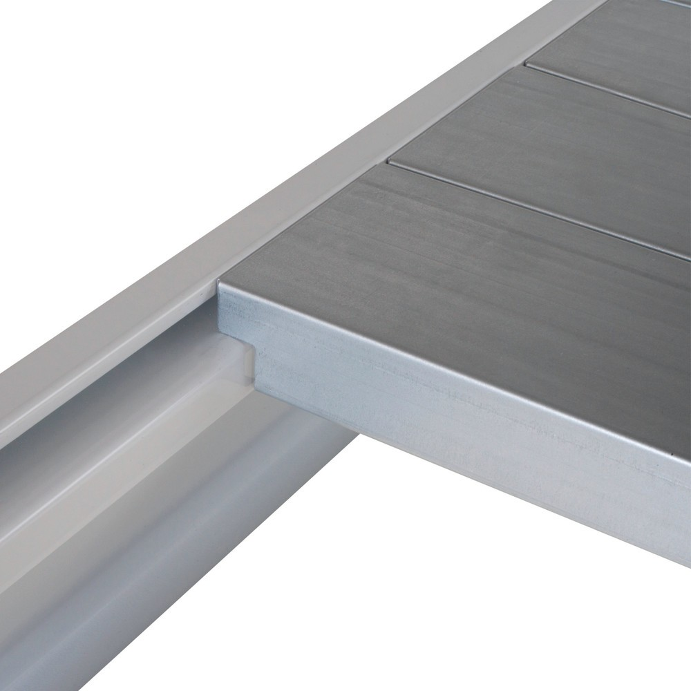 Prateleira para estanteria larga em aglomerado, com placas de aço