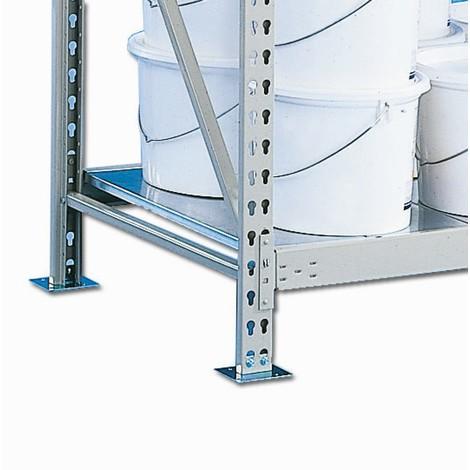 Prateleira para estanteria larga em aglomerado META, com painéis de aço, carga de 600 kg por prateleira
