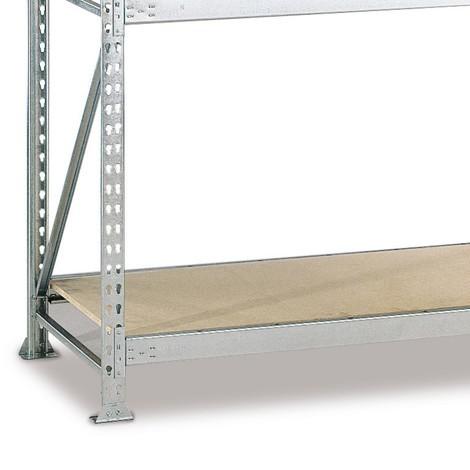 Prateleira para estanteria larga em aglomerado META, com painéis de aglomerado, carga de 600 kg por prateleira