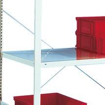 Prateleira para estanteria larga em aglomerado META, de uma fila, cinza-claro