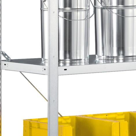 Prateleira para estanteria para picking para sistema de encaixe META, 100 kg de carga por prateleira, galvanizada