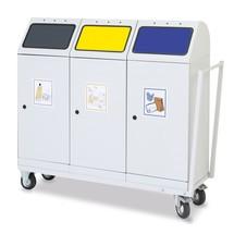 Prepravný vozík pre kontajner na druhotné suroviny stumpf® à 70 litrov, krídlové dvere