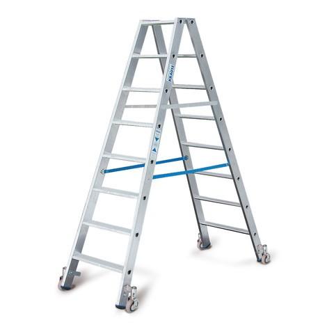 Professionele dubbele trap KRAUSE®, 2-zijdig begaanbaar, met wielen