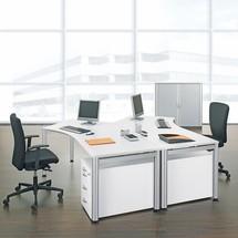 Professionelt skrivebord, 4-fods byggehøjde justerbar, fri form 135°