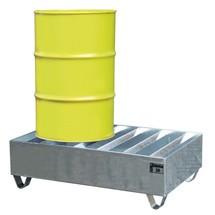 Profiel-lekbak van staal. 2x 200 l-vaten, opvangvolume 242 l