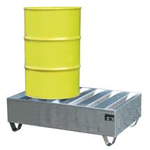 Profil-Auffangwanne aus Stahl. 2x 200 Liter Fässer, Auffangvolumen 245 Liter