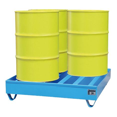 Profil-Auffangwanne aus Stahl. 4x 200 Liter Fässer. Auffangvolumen 230 Liter
