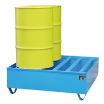 Profil-Auffangwanne aus Stahl. 4x 200 Liter Fässer, Auffangvolumen 410 Liter