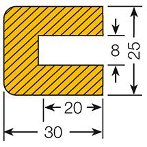 Profilschutz, Rechteck, zum Aufstecken, 5 m Rolle