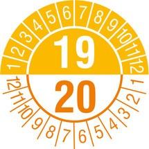 Prüfplaketten 2019/2020, nach Monaten, 2-stellige Jahreszahl