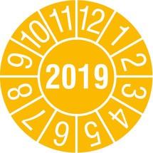 Prüfplaketten 2019, nach Monaten, 4-stellige Jahreszahl