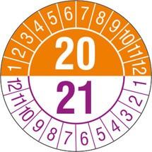 Prüfplaketten 2020/2021, nach Monaten, 2-stellige Jahreszahl