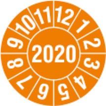 Prüfplaketten 2020, nach Monaten, 4-stellige Jahreszahl